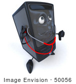 #50056 Royalty-Free (Rf) Illustration Of A 3d Computer Case Mascot Using A Stethoscope - Version 3