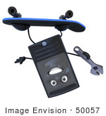 #50057 Royalty-Free (Rf) Illustration Of A 3d Computer Case Mascot Skateboarding