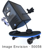 #50058 Royalty-Free (Rf) Illustration Of A 3d Computer Case Mascot Holding A Wrench And Skateboarding - Version 3