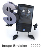 #50059 Royalty-Free (Rf) Illustration Of A 3d Computer Case Mascot Carrying A Silver Dollar Symbol