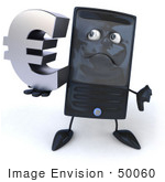 #50060 Royalty-Free (Rf) Illustration Of A 3d Computer Case Mascot Pouting And Holding A Euro Symbol - Version 2