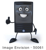 #50061 Royalty-Free (Rf) Illustration Of A 3d Computer Case Mascot Giving The Thumbs Up
