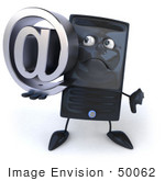 #50062 Royalty-Free (Rf) Illustration Of A 3d Computer Case Mascot Holding An Arobase
