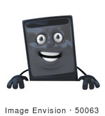 #50063 Royalty-Free (Rf) Illustration Of A 3d Computer Case Mascot Standing Behind A Blank Sign