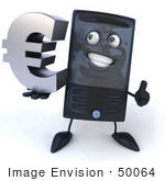 #50064 Royalty-Free (Rf) Illustration Of A 3d Computer Case Mascot Smiling And Holding A Euro Symbol - Version 2