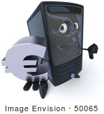 #50065 Royalty-Free (Rf) Illustration Of A 3d Computer Case Mascot Pouting And Holding A Euro Symbol - Version 1