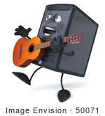 #50071 Royalty-Free (Rf) Illustration Of A 3d Computer Case Mascot Playing A Guitar
