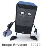 #50072 Royalty-Free (Rf) Illustration Of A 3d Computer Case Mascot Holding A Tool - Pose 1