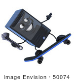 #50074 Royalty-Free (Rf) Illustration Of A 3d Computer Case Mascot Holding A Wrench And Skateboarding - Version 2