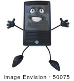 #50075 Royalty-Free (Rf) Illustration Of A 3d Computer Case Mascot Jumping - Version 1