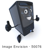 #50076 Royalty-Free (Rf) Illustration Of A 3d Computer Case Mascot Giving Two Thumbs Up