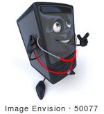 #50077 Royalty-Free (Rf) Illustration Of A 3d Computer Case Mascot Using A Stethoscope - Version 2