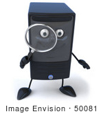 #50081 Royalty-Free (Rf) Illustration Of A 3d Computer Case Mascot With A Magnifying Glass