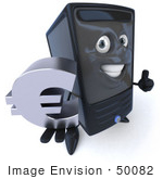 #50082 Royalty-Free (Rf) Illustration Of A 3d Computer Case Mascot Smiling And Holding A Euro Symbol - Version 1
