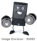 #50083 Royalty-Free (Rf) Illustration Of A 3d Computer Case Mascot Weight Lifting