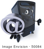 #50084 Royalty-Free (Rf) Illustration Of A 3d Computer Case Mascot Carrying A Silver At Symbol