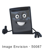 #50087 Royalty-Free (Rf) Illustration Of A 3d Computer Case Mascot Giving The Thumbs Up And Standing Behind A Blank Sign