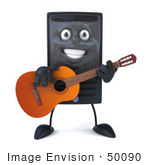 #50090 Royalty-Free (Rf) Illustration Of A 3d Computer Case Mascot Guitarist