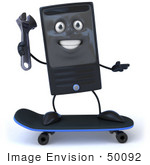 #50092 Royalty-Free (Rf) Illustration Of A 3d Computer Case Mascot Holding A Wrench And Skateboarding - Version 1