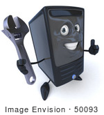 #50093 Royalty-Free (Rf) Illustration Of A 3d Computer Case Mascot Giving The Thumbs Up And Holding A Wrench