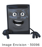 #50096 Royalty-Free (Rf) Illustration Of A 3d Computer Case Mascot Pointing Down And Standing Behind A Blank Sign
