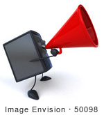 #50098 Royalty-Free (Rf) Illustration Of A 3d Computer Case Mascot Using A Megaphone - Version 2