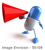 #50109 Royalty-Free (Rf) Illustration Of A 3d Blue Pill Capsule Mascot Using A Megaphone