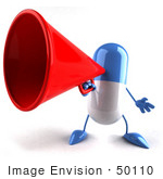 #50110 Royalty-Free (Rf) Illustration Of A 3d Blue Pill Capsule Mascot Speaking Through A Megaphone - Version 1
