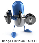 #50111 Royalty-Free (Rf) Illustration Of A 3d Blue Pill Capsule Mascot Lifting Weights