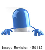 #50112 Royalty-Free (Rf) Illustration Of A 3d Blue Pill Capsule Mascot Standing Behind A Blank Sign