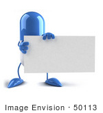 #50113 Royalty-Free (Rf) Illustration Of A Blue 3d Pill Capsule Mascot Holding A Blank Business Card - Version 1