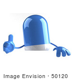 #50120 Royalty-Free (Rf) Illustration Of A 3d Blue Pill Capsule Mascot Giving The Thumbs Up