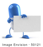 #50121 Royalty-Free (Rf) Illustration Of A Blue 3d Pill Capsule Mascot Holding A Blank Business Card - Version 2