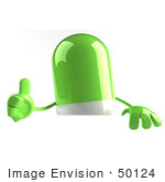 #50124 Royalty-Free (Rf) Illustration Of A 3d Green Pill Capsule Mascot Giving The Thumbs Up