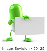 #50125 Royalty-Free (Rf) Illustration Of A Green 3d Pill Capsule Mascot Holding A Blank Business Card