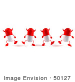 #50127 Royalty-Free (Rf) Illustration Of 3d Red Devil Pill Capsule Mascots Marching Forward - Version 1