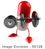 #50128 Royalty-Free (Rf) Illustration Of A 3d Red Pill Capsule Mascot Lifting Weights