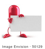 #50129 Royalty-Free (Rf) Illustration Of A Pink 3d Pill Capsule Mascot Holding A Blank Business Card