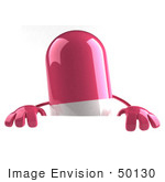 #50130 Royalty-Free (Rf) Illustration Of A 3d Pink Pill Capsule Mascot Standing Behind A Blank Sign