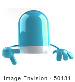 #50131 Royalty-Free (Rf) Illustration Of A 3d Blue Pill Capsule Mascot Pointing Down At And Standing Behind A Blank Sign - Version 1