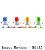 #50132 Royalty-Free (Rf) Illustration Of 3d Colorful Pill Capsule Mascots Facing Front - Version 1