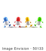 #50133 Royalty-Free (Rf) Illustration Of 3d Colorful Pill Capsule Mascots Marching Forward - Version 3