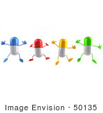 #50135 Royalty-Free (Rf) Illustration Of 3d Colorful Pill Capsule Mascots Jumping - Version 1
