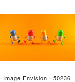 #50236 Royalty-Free (Rf) Illustration Of 3d Colorful Pill Capsule Mascots Marching Forward - Version 1