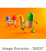 #50237 Royalty-Free (Rf) Illustration Of 3d Colorful Pill Capsule Mascots Marching Forward - Version 2
