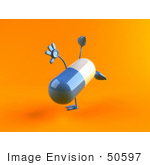 #50597 Royalty-Free (Rf) Illustration Of A 3d Blue Pill Capsule Mascot Doing A Cartwheel - Version 2