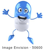 #50600 Royalty-Free (Rf) Illustration Of A 3d Blue Pill Capsule Mascot Jumping