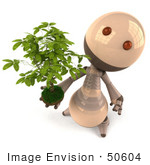 #50604 Royalty-Free (Rf) Illustration Of A 3d Robot Mascot Holding A Plant - Version 4