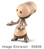#50606 Royalty-Free (Rf) Illustration Of A 3d Robot Mascot Gesturing With His Hand - Version 2