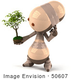 #50607 Royalty-Free (Rf) Illustration Of A 3d Robot Mascot Holding A Plant - Version 3